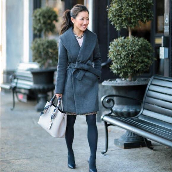 edbf980777 Ann Taylor Jackets & Coats | Gray Shawl Collar Wrap Wool Tie Coat ...